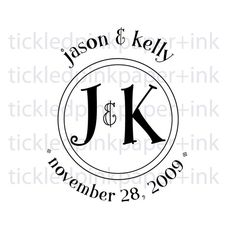 Save the date custom wedding stamp with your initials or monogram.