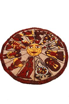 Zodiac Hooked Rug/Astrology Wall hanging by 5thstreetbazaar, $425.00