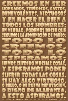 LOS ARTÍCULOS DE FE -  www.lds.org/scriptures/pgp/a-of-f/1?lang=spa