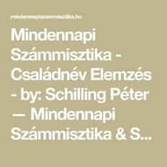 Mindennapi Számmisztika - Családnév Elemzés - by: Schilling Péter — Mindennapi Számmisztika & Schilling Péter Math Equations