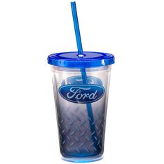 Vandor 25014 Ford 18 oz Acyrlic Travel Cup with Lid and Straw, Blue and White Cool Travel Mugs, Travel Cup, Star Trek Gifts, Doctor Who Gifts, Marvel Gifts, Ford Girl, Retro Candy, Ford Motor Company, Home Made Soap