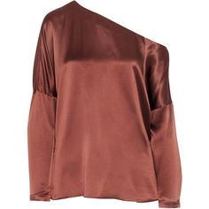 TibiAsymmetric Silk-satin Top ($395) ❤ liked on Polyvore featuring tops, brown, red top, red off the shoulder top, loose tops, asymmetrical neckline top and drape top