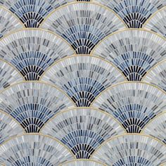 Buy Fan Club Blue Ombre With Brass Gloss Glass Mosaic by Artistic Tile - designer Surfaces from Dering Hall's collection of Tiles. - Fan Club Blue Ombre With Brass Gloss Glass Mosaic - pinupi love to share Art Deco Tiles, Motif Art Deco, Art Deco Pattern, Glass Mosaic Tiles, Mosaic Art, Cement Tiles, Mosaics, Wall Tiles, Cork Tiles