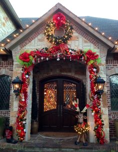 front door at christmas using mesh and shatterproof ornaments easy to make - Deco Mesh Halloween Garland