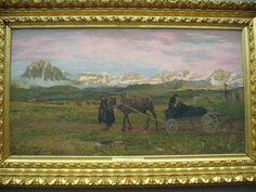 Segantini, Ritorno al paese natio, 1895. Milan, Palazzo Reale. The death is combined with the immigration issue. The painting, all played on the horizontal that promote a sense of stagnation, shows a plateau in the shade and inhospitable. A man, dressed in black, leading a hand-cart on which is located the coffin of her son, crying desperately by his widow and a second person.