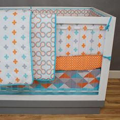 Orange and blue crib bedding burnt orange baby bedding bedding sets Aqua Bedding, Baby Boy Bedding, Crib Bedding Sets, Baby Cribs, Comforter, Baby Girl Nursery Themes, Baby Boy Rooms, Baby Boy Decorations, Baby Decor