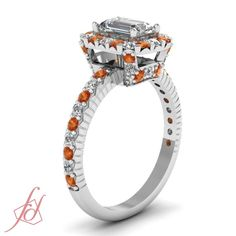 Squared Basket Ring|| Emerald Cut Diamond Halo Ring With Orange Sapphire In 14K White Gold