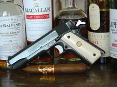 """*Never at the same time though. Mixing booze and guns is like standing on Darwin's front porch, pounding on the door, and screaming """"TAKE ME TAKE ME! Whisky Islay, Scotch Whisky, Cigar Art, Cigar Club, Cigars And Whiskey, Fire Powers, Firearms, Shotguns, Weapons Guns"""