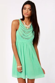 Check it out from Lulus.com! As Seen on Bree of The Urban Umbrella blog! Get ready to make friends with the adorable Crochet There! Mint Green Crochet Dress, 'cause this cutie is calling your name! A lightweight woven skirt is perfect in warm weather and tucks into a fitted crochet bodice at an elasticized waistline. Intricate patterning looks great over a sassy bandeau for some truly Bohemian layering. Skirt is lined. Bodice is sheer. Model is wearing a size small. 100�0Rayon. Hand Wash…