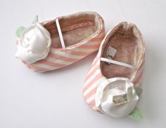JULES baby girl shoes  pink and white stripe with by JolieBerry, $27.95