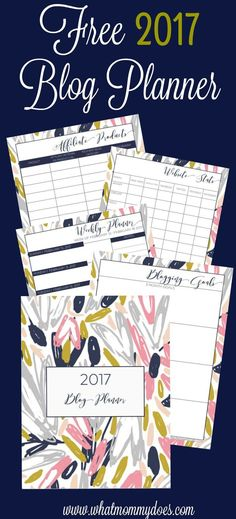 I've been looking for something like this to plan 2017! I can't believe it's free!!! | Free Printable 2017 Blog Planner contains: weekly planner pages, blank monthly calendar, blog goal setting page, blog post idea + website stats tracker, affiliate produ