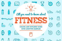 Awesome Fitness Icons and Logo Set 2  @creativework247