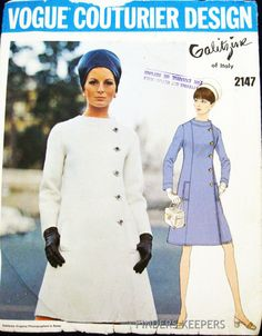 1960s VOGUE Couturier Design Pattern 2147 Galitzine of Italy Dress Coat Bust 32 found at Scrappermomtoo on Bonanza.com