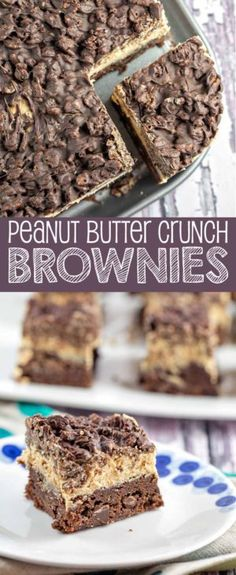 Peanut Butter Crunch Brownies: homemade brownies, peanut butter ganache frosting, and a Rice Krispie chocolate crunch layer - the perfect make-ahead party treat! Brownie Desserts, Brownie Recipes, Chocolate Recipes, Just Desserts, Cookie Recipes, Delicious Desserts, Holiday Desserts, Egg Recipes, Chocolate Rice Krispies