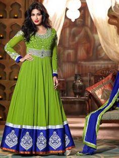 Green Embroidered Indo Western Anarkali Dress