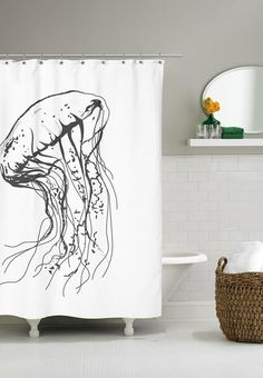 Shower curtains with a jellyfish for the funny person. If the shower curtain moves, you get the feeling that a jellyfish is swimming by. Both fun and stylish at the same time.