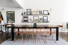 The copper-finished wire dining chairs from Bend Goods are too die for.