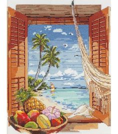 Tropical Vacation Counted Cross Stitch Kit