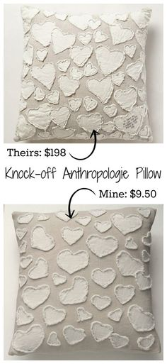 Anthropologie Heart Pillow Knock-off. Sewing Pillows, Diy Pillows, Decorative Pillows, Throw Pillows, Fabric Crafts, Sewing Crafts, Sewing Projects, Diy Projects, Heart Pillow