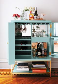 The Lacquered Bar Cabinet by Tracey Boyd is a home bar essential with a high-gloss lacquered finish.