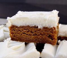 Chewy Gingerbread Bars with Cream Cheese Frosting~