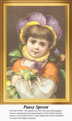 Pansy Sprout, Vintage Counted Cross Stitch Pattern. Kit and Digital Download Also Available #crossstitch #123stitch