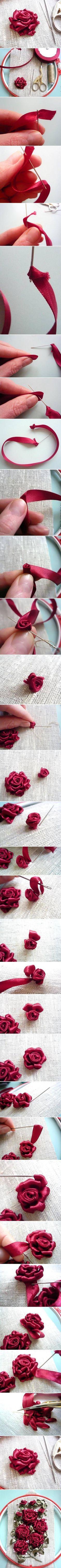 rosas bordadas con cinta de raso. Tutorial