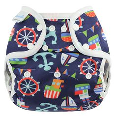Nautical One Size Coveralls Diaper Cover // Be the first to know when new designs are released, sign up here: BlueberryandMe.com