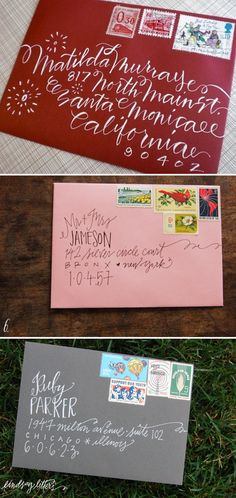 Addressing christmas cards beautifully.
