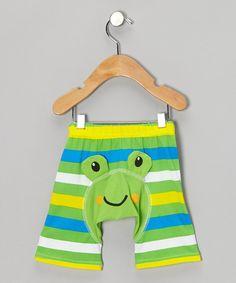 Green & Blue Stripe Frog Shorts - Infant