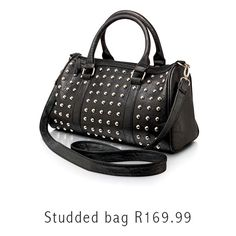 Can you picture yourself shopping with this studded handbag? Cheap Designer Handbags, Trendy Handbags, Latest Fashion, Womens Fashion, Lovely Things, Scarf Styles, Penguin, Fashion Backpack, Studs