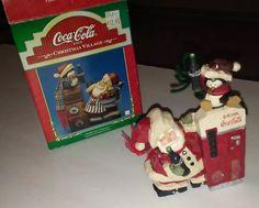 "✅ Kurt S. Adler 1999 HOLIDAY CHEER FIGURINE: Coca-Cola Brand Christmas Village SANTA & PENGUIN WITH COKE MACHINE. ~ 5-6"" Tall x 4-4.5"" Wide. ~ eBay: onevintagechicamy P6.95+6.72 Jan '17"