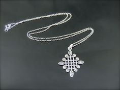 BEAUTIFUL STERLING SILVER MARCASITE WOVEN CELTIC? CROSS PENDANT & NECKLACE