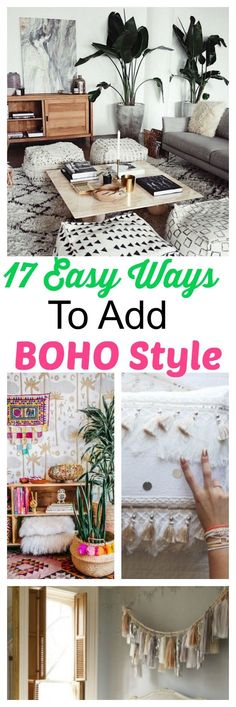 17 easy and diy ways to add instant boho style for your small space, first home, dorm, or apartment. Easy Boho home decor ideas including decorating with lights, a hammock chair, wall hangings, macrame projects and more. #boho #style #poufs #tapestries