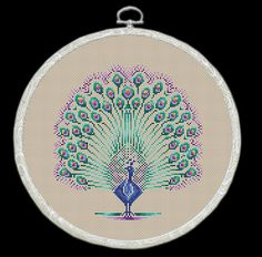 Beautiful Royal Peacock with colorful tail by FancyworkDesign