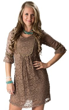 Young Essence® Women's Brown 3/4 Sleeve Lace Dress | Cavender's