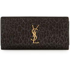 Saint Laurent Monogram Leopard-Print Clutch Bag ($1,290) ❤ liked on Polyvore featuring bags, handbags, clutches, black multi, monogrammed clutches, flap handbags, leopard clutches, leopard print clutches and yves saint laurent