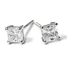 Kara: 0.75ct Threaded Post 4mm Princess Cut Russian CZ Stud Earrings - Trustmark Jewelers