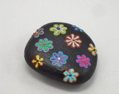 Painted Stone, Flowers Painted on Stone, Stone Paperweight, Millefleurs on Stone, Stone Painting