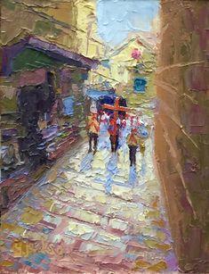 """On The Via Dolorosa,"" Jerusalem, 6 x 8 inches, Oil,  Artist, Guy Jackson.  www.guyjacksonart.com. Impressionist Art, Jerusalem, Art Oil, Jackson, Guys, Artist, Painting, Artists, Painting Art"
