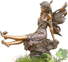 Aster Fairy and Butterfly Statue  Price $99.99 Fairy Statues, Fairy Figurines, Garden Statues, Garden Sculptures, Wire Sculptures, Sculpture Art, Elfen Fantasy, Statue Antique, Outdoor Statues