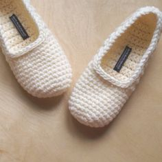 Crochet Creme Colored Slippers = comfy