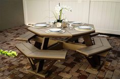 Amish Poly Octagon Table Finch Poly Outdoor Collection Fire up the grill and gather around our classic Finch Poly Octagon Picnic Table as you take advantage of every beautiful day this season! & enjoy it with the people and food you love. Outdoor Dining Furniture, Pool Furniture, Amish Furniture, Outdoor Decor, Octagon Picnic Table, Picnic Tables, Dining Area, Dining Table, Fire