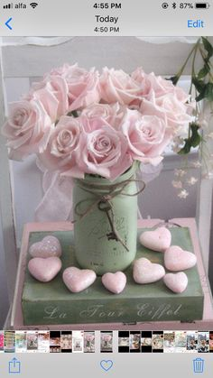 Dreamy Shabby Chic Pink Roses - Romantic Cottage Chic Pink Roses And Hearts Floral Art Print By Kathy Fornal by fougere
