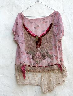 romantic delicate silk blouse with antique cotton by FleurBonheur, $175.00