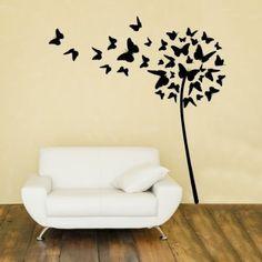 """Adesivo murale Wall Art """"Soffione di farfalle"""" - Misure 94x100 cm - Decorazione parete, adesivi per muro, carta da parati: Amazon.it: Casa e cucina"""