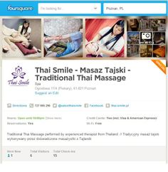 Profile Thai Smile on Foursquare. If you use this aplication, and you make check in in our place (exacly in our place before taking massage) you can try our special for 1st check-in!  --> thai massage poznan / masaż tajski poznań
