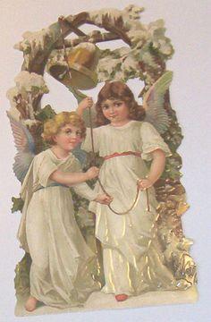 VICTORIAN GERMAN LG CHRISTMAS ANGEL CHILDREN RINGING BELL  DIECUT SCRAPS EF 5128