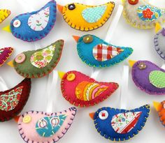 There is no right or wrong way to make these cute little birds! All you need is some felt, scrap cloth, needle and thread, and a button for the eye. They make great ornaments, keyrings, or possibly even cat toys (if you left the button off)