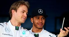 Rosberg and Hamilton at the launch of the Mercedes W06